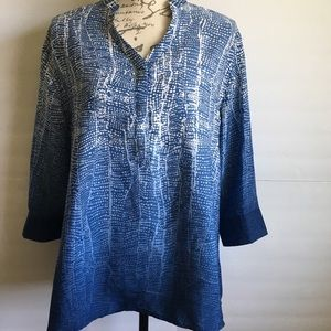 Soft surroundings anthro geometric print blouse